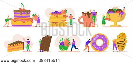 People With Desserts Isolated On White Set Of Vector Illustrations. Tiny Characters With Ice Cream,