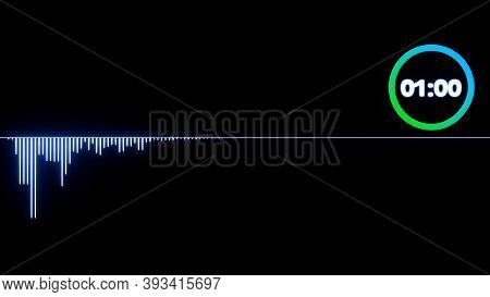 Sound Waveform, Abstract 3d Sound Waves With Colorful Loading Infographic Countdown Clock , 3d Rende