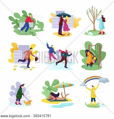 Aall Four Seasons And Weather Set Of Vector Illustrations. People In Seasonal Clothes In Windy Autum
