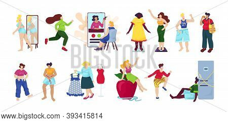 Weight Loss, Diet Set Of Isolated Vector Illustration. Overweight Woman Become Thin Process. Idea Of