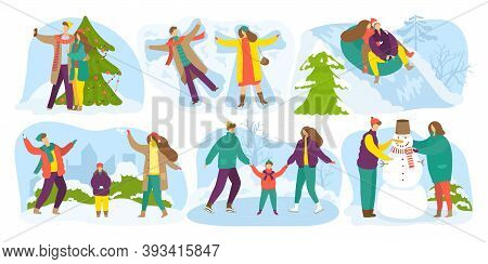 Winter Outdoor Activities, Snow Season Holidays, Vacations Vector Cartoon Illustrations Set. Kids Ma