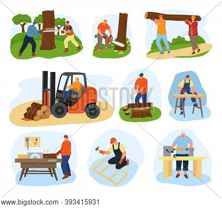 Wood Processing Vector Illustration Flat Set. Wooden Production Equipment And Timbers. Sawing Up Tru