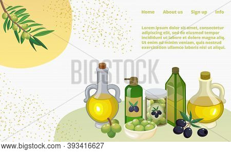 Olive Oil Set With Products And Decorations From Olives Branch, Jars And Bottles Cartoon Vector Illu