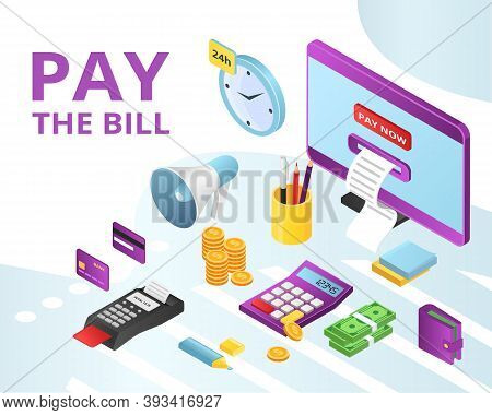 Pay Bill Payments For Credit, Rent Online Icons Set Isolated Vector Illustration. Mobile Banking, Ba