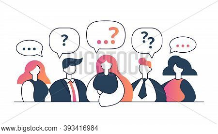 People With Question Signs Discussing Or With Different Opinions Flat Vector Illustration. Search Of