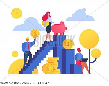 Save Money People Getting Up On Stairs To Wealth And Economy Concept Flat Vector Illustration. Golde