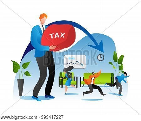 Tax Burden For Business Or Person Vector Illustration. Businessman Suffer Weight Of Unfair Heavy Tax