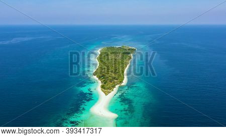 Tropical Island With Sand Beach, Top View. Little Santa Cruz Island Near Zamboanga City. Mindanao, P