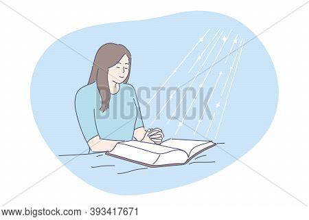 Prayer, Religion, Bible Concept. Young Happy Religious Woman Christian Character Praying Above Open