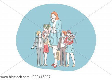 Teacher Day, School, Pupils, Teacher With Classmates Concept. Group Of Happy Children Classmates Pre