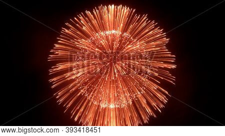 Fireworks Blast In Sky, Firework Background, 3d Render