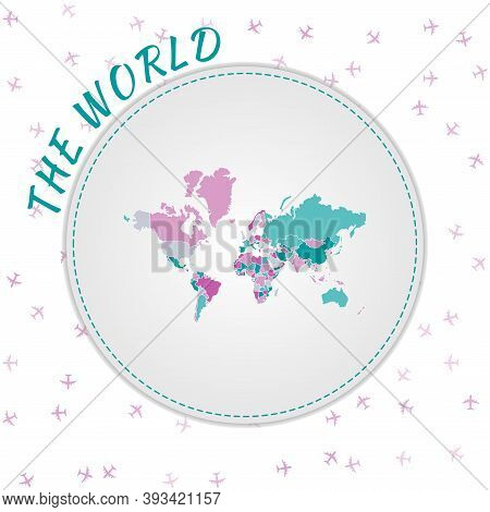 The World Map Design. Map Of The World With Regions In Emerald-amethyst Color Palette. Rounded Trave