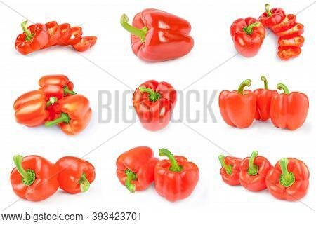 Collage Of Paprika Isolated On A White Background Cutout