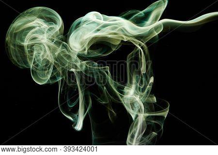 Green Abstract Colorful Smoke Waves