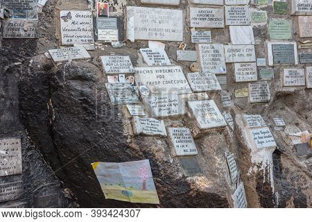 Sanctuary With Offerings On San Cristobal Hill In Santiago, Chile
