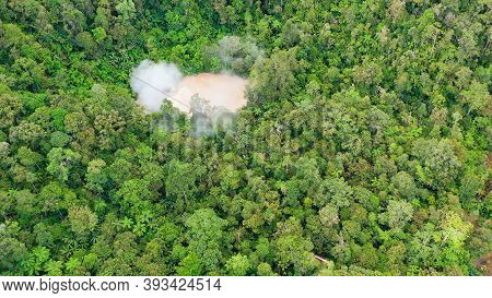 Boiling Mud Lake Agco And Volcanic Activity On Mount Apo. Mindanao, Philippines. Boiling Lake In The