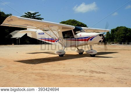Santa Cruz Cabralia, Bahia / Brazil - February 6, 2008: Experimental Ultralight Plane Is Spotted On