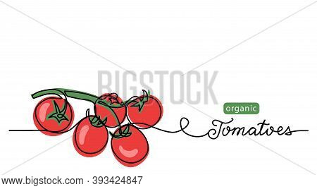 Cherry Tomatoes Branch Vector Lineart Illustration. One Line Drawing Art Illustration With Lettering