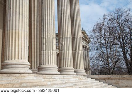 Vintage Old Justice Courthouse Column. Stone column ancient classic architecture detail