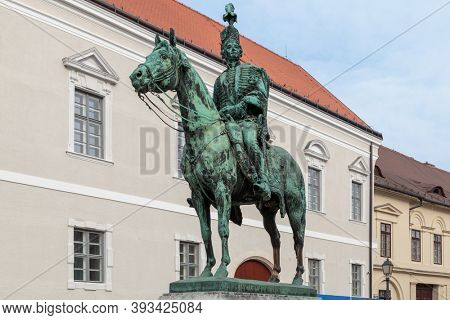 Budapest, Hungary - March 27, 2018: Statue of Andras Hadik in Buda Castle District The iconic Hungarian hussar most famous Hungarian army unit from the 18th century and favourite soldier of Maria