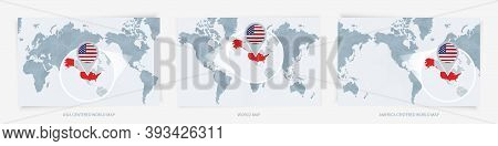 Three Versions Of The World Map With The Enlarged Map Of Usa With Flag. Europe, Asia, And America Ce