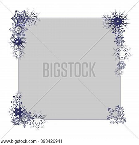 Winter Empty Photo Frame With Snowflakes On Grey Background. Blank Holiday Border Template. Jpeg