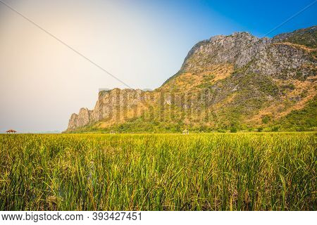 Beautiful Landscape Of Mountain With Grass Field And Blue Sky Range Background In Khao Sam Roi Yot N