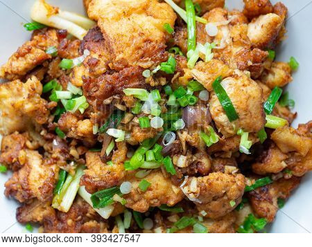 Thai Food Stir Fry Chicken And Chili In Oil. Local Thai Food Can Be Eaten In A Restaurant. The Main