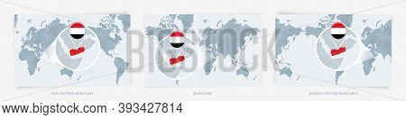 Three Versions Of The World Map With The Enlarged Map Of Yemen With Flag. Europe, Asia, And America