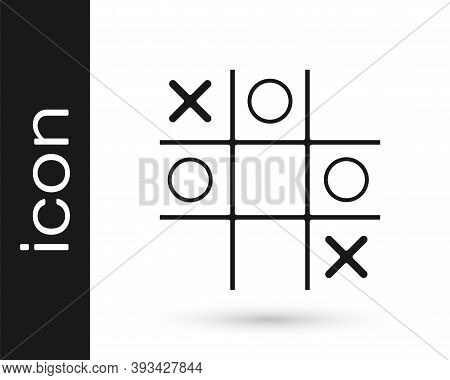 Black Tic Tac Toe Game Icon Isolated On White Background. Vector