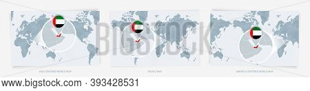 Three Versions Of The World Map With The Enlarged Map Of United Arab Emirates With Flag. Europe, Asi
