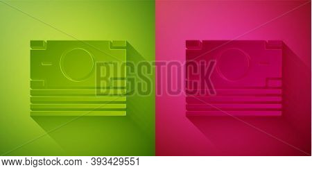 Paper Cut Stacks Paper Money Cash Icon Isolated On Green And Pink Background. Money Banknotes Stacks