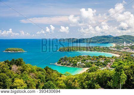 Beautiful Aerial View Point 3 Beach Of Kata, Kata Noi, Karon Beach At Phuket, Thailand.