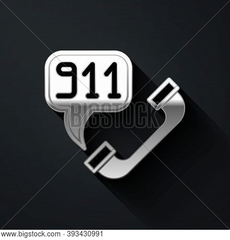 Silver Telephone With Emergency Call 911 Icon Isolated On Black Background. Police, Ambulance, Fire