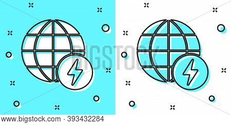 Black Line Global Energy Power Planet With Flash Thunderbolt Icon Isolated On Green And White Backgr