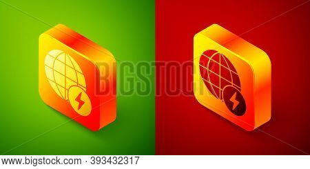 Isometric Global Energy Power Planet With Flash Thunderbolt Icon Isolated On Green And Red Backgroun