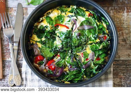 Frying Pan With Spinach Omelet. Keto Diet. Omelet With Spinach And Vegetables.