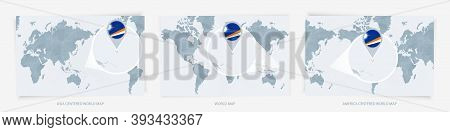 Three Versions Of The World Map With The Enlarged Map Of Marshall Islands With Flag. Europe, Asia, A