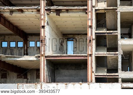 A Fragment Of An Unfinished And Abandoned Building In The Section. You Can See The Frame Of The Buil