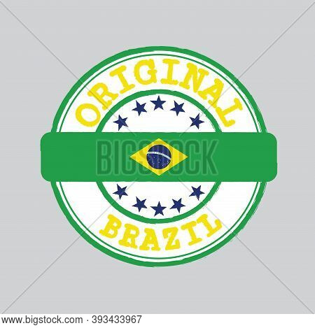 Vector Stamp Of Original Logo With Text Brazil And Tying In The Middle With Nation Flag. Grunge Rubb