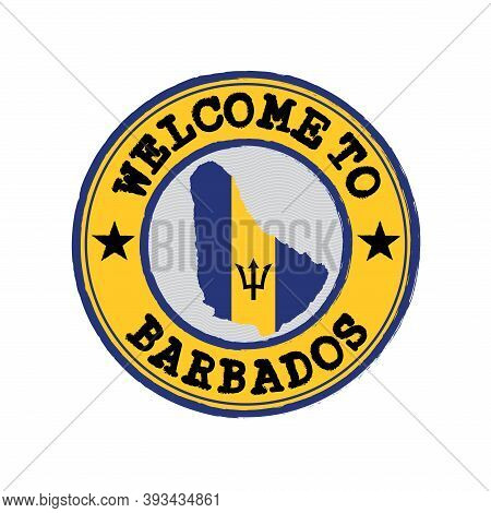 Vector Stamp Of Welcome To Barbados With Map Outline Of The Nation In Center. Grunge Rubber Texture