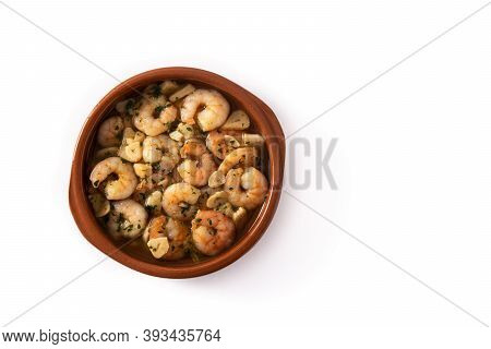 Garlic Prawns In Crock Pot Isolated On White Background.top View. Copy Space