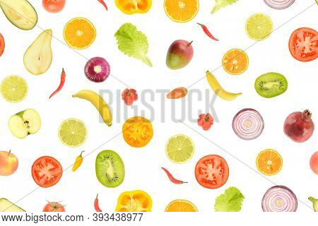 Seamless pattern of juicy vegetables and fruits useful for health isolated on white background.