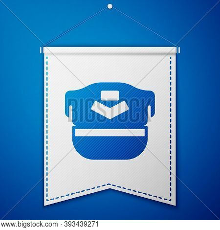 Blue Pilot Hat Icon Isolated On Blue Background. White Pennant Template. Vector