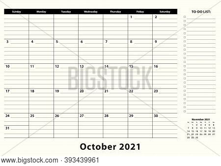 October 2021 Monthly Business Desk Pad Calendar. October 2021 Calendar Planner With To-do List And P
