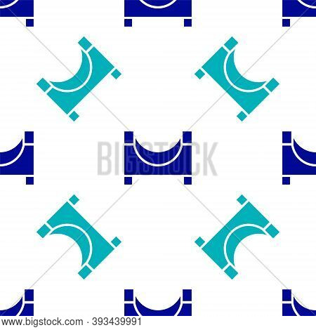 Blue Skate Park Icon Isolated Seamless Pattern On White Background. Set Of Ramp, Roller, Stairs For