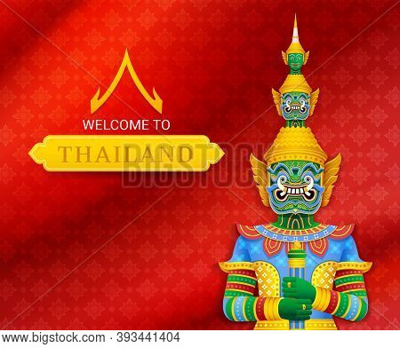 Thai Temple Guardian Giant Vector Illustrations Background