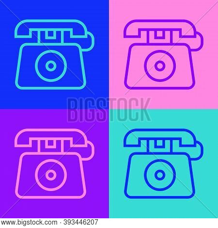 Pop Art Line Telephone With Emergency Call 911 Icon Isolated On Color Background. Police, Ambulance,