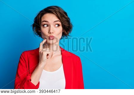 Close-up Portrait Of Attractive Funny Curious Brown-haired Lady Creating Solution Pout Lips Copy Spa
