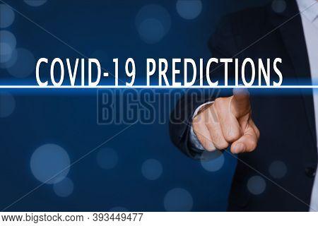 Covid-19 Predictions. Man Touching Virtual Screen On Blue Background, Closeup